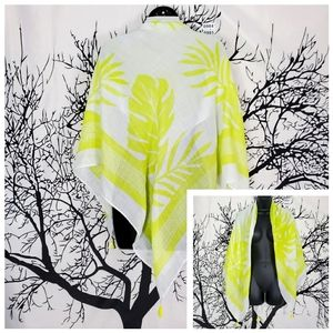 NWT NINE WEST Square Scarf Lime Green Tassles